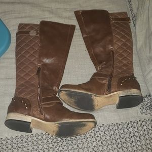 Knee high brown riding boots